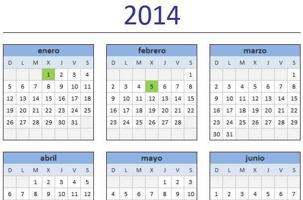 Calendario 2014 Imprimir Excel Calendario 2014 en Excel
